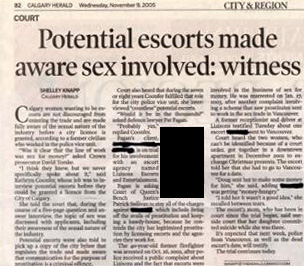 Potential escorts made aware