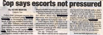 Cop says escorts not pressured