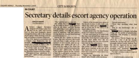 Secretary details escort agency operation