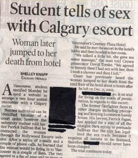 Student tells of sex with Calgary escort